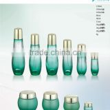 glass container cosmetic packing and luxury glass bottle with gold cap and cosmetic glass jar