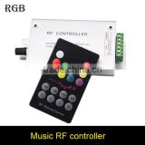 18 key DC12V 24V Audio Sound 3 channel*4A 12A rf 433.92mhz Wireless Remote RGB Led Music Controller For 3528 5050 3014 LED Strip