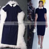 Famous design 2014 Newest stylish cotton bodycon dress with a collar