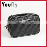 Factory promotional woven patterm travel pu cosmetic bag