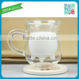 New style man blown glassware cute drinking glass for breakfast double wall milk glass cup