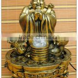 Bronze color large size resin water fountain, Chinese luckly buddha water fountain
