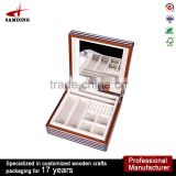 lining velvet box luxury woods jewelry pill box with mirror gift boxes