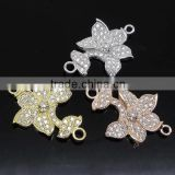 SJ3136 micro pave zircon ball beads connector,silver beads jewelry,Flower shape micro pave jewellery Wholesale