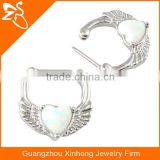 nose piercing surgical steel, body piercing nose cliker, opal septum ring with wings