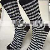 OEM 100% cotton leisure quality knitted stripes socks