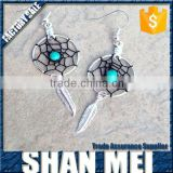2015 fashion design dream catcher earrings with turquoise feather factory wholesale