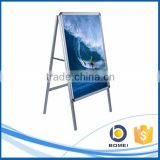 Outdoor aluminum a0 a1 a2 A shape poster display stand, sign board standing rolling display
