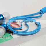 Mobile Flat Cable Earphone Earbud With Mic For iPhone, Colorful Earphone Headphones With Super Bass