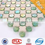 ZTCLJ JY-G-95 Decorative Beige Ceramic Mosaic Mix Iridescent Green Crystal Glass Mosaic Cheap Floor Tiles