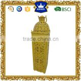 Yellow moroccan metal candle lantern fashionable design