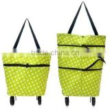 Folding Trolley From SanQi, Large Lightweight Shopping Trolley Foldable Wheel Luggage HandBag Cart with 2 Wheels Green