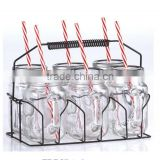 6pcs set mason jar with handle and straw glass mason jar with rack