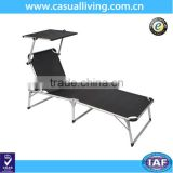 Outdoor Adjustable Back Beach Pool Sun Lounge Chair with Canopy Sunshade