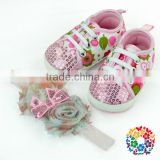 Adorable Baby Canvas Shoe Baby Girl Flower Sequin Lace Shoes Kids Canvas Shoes With Shabby Flower Headband Wholesale