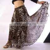 Wholesales high quality triba leopard belly dance pleated skirt