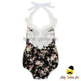 Retro Style Soft Cotton Black Flower Printed Halter Lace Froal Baby Girl Vintage Romper Summer Clothes
