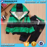 2015 stylish spring winter casual cotton lycra stripe hoodies +plain pants 2 pieces one set kid hoody