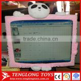 Hot sales office decorate soft plush computer screen covers with toys