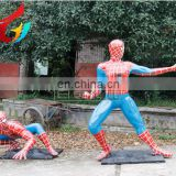 High Quality Superhero Charactor Life Size Spiderman Fiberglass Statue