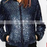 Manufacturer of fashion clothing women jacket sequin lady bling sequin bomber jacket autumnOEM