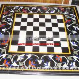 Black Marble Stone Chess Design Inlay Table Top