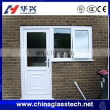 Elegant and New design lock set heat preservation tempered glass upvc frame door attach with window