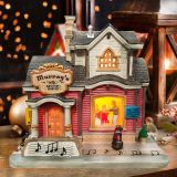 Lundberg Foods Christmas in the CityChristmas church house with LED lights  coffee shop Musical Ski Scene with  Polyresin Christmas House Decoration