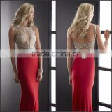 2015 New Sexy Red Spandex Evening Dress with Beading and Hpllow Out High Quality Boat Neck and Sleeveless Evening Dress