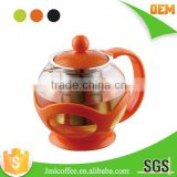 Glass tea pot , Colorful Tea brewer ,Stainless steel tea 304# filter ,various color