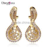 Unique Design Gold Color Platinum Plated CZ Crystals Indian Look Jewelry Earrings