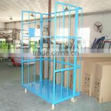 Metal foldable stroage warehouse trolley with wheels/ logistics cargo trolley
