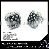 Christmas flashing earrings stud with black and white zircon stone, boys earring jewelry from Chinese wholesale