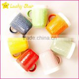 Ceramic knitting wool shape outer mugs with handle for coffee and tea with spoon and lid promotional and gift souvenirs