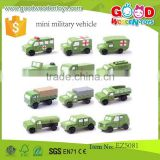 hot sale hardwood military vehicles OEM kids mini car toys military vehicles EZ5081