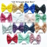 "Fancy large 5"" sparkle sequin bow for headband accessory,15 colors to pick up for new design hair bow"