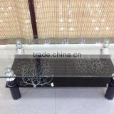 glass top stainless steel base coffee table HY-1005