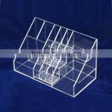Acrylic cosmetic case with lattice lucite make up display rack for lipsticks