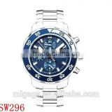 Scratch Resistant Sapphire three sub-dials displaying Blue Dial Mens Chronograph Automatic Watch