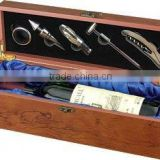 1 bottle Wooden wine case with wine set