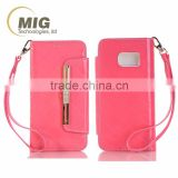ladies handbag design leather wallet with diamond Metal strip Cell phone case For iphone 6s case