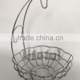 Fruit Basket With Banana Holder - Chrome Metal Wire Hanger
