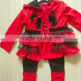 Children Clothing Set 3Pcs Cotton Girls Ruffle Coat with hood Kids Spring set
