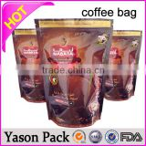 Yason new style and high quality block bottom coffee bag plastic packaging coffee bag with tin tie and one-way valve side gusse