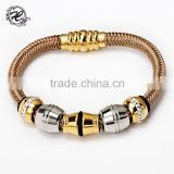 Wholesale Stainless steel mesh chain magnetic clasp diamond setting charm bracelet accessories for women