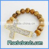 Cross Bracelets Wholesale Gold Plated Sideways Pave Crystal Agate Beaded Stretch Honesty Jewelry PHB-001