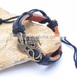 Genuine Leather Bracelet Adjustable with Antique Brass Dragon Accessory.