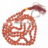 Red Jasper Notted Jap Mala : Wholesale Jap Mala : Handmade Agate Cotton Knotted 108 Beads Mala