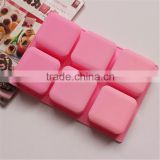 wholesale food grade 6 cavities 6.5x6.5x3cm about 125g soft flexible nonstick handmade bar square silicone soap molds