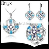 2016 Elegant hollow out light royal blue zircon jewelry set with flower pendant ear studs and ring